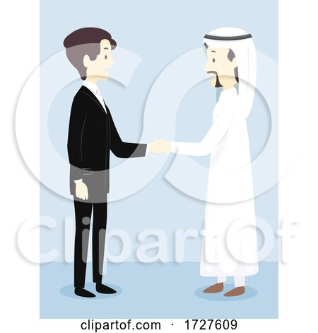 Men Formal Qatar Shake Hands Illustration Posters, Art Prints