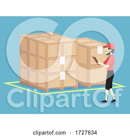 Man Check Warehouse Crates Illustration by BNP Design Studio