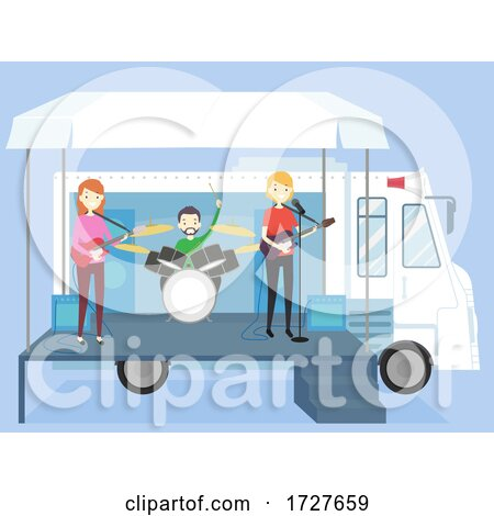 People Truck Stage Band Playing Illustration Posters, Art Prints