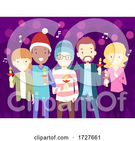 People Christmas Carol Candle Lights Illustration by BNP Design Studio