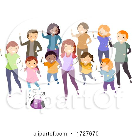 People Stickman Play Group Dance Illustration Posters, Art Prints