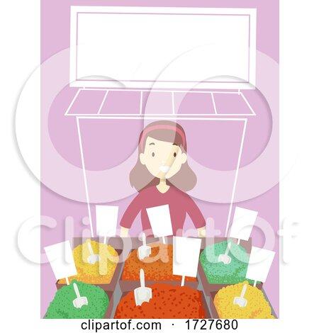 Girl Arab Spices Store Marketplace Illustration by BNP Design Studio