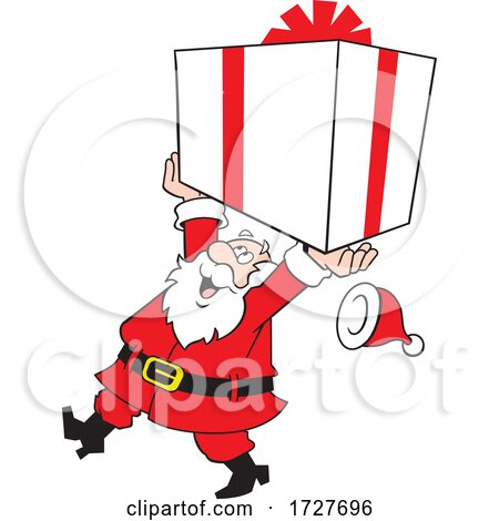 Cartoon Jolly Santa Claus Carrying a Large Gift by Johnny Sajem