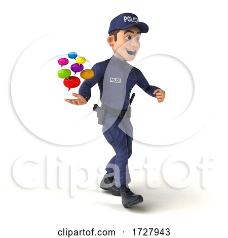 3d Police Man on a White Background by Julos
