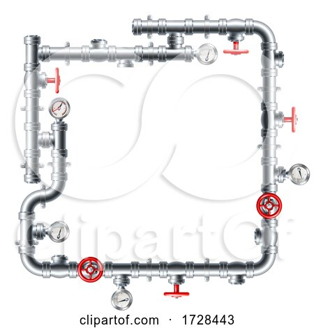 Pipe Frame Pipework Border Design by AtStockIllustration