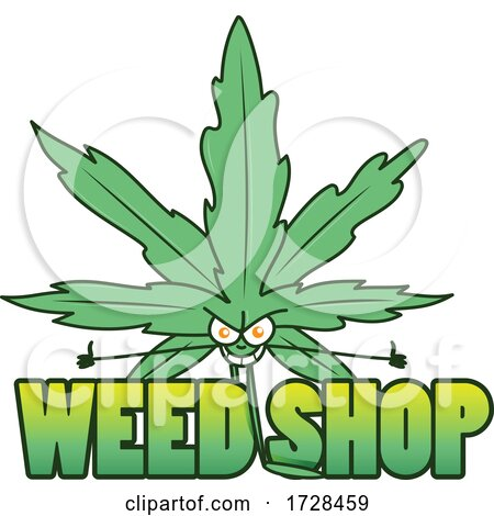 Cannabis Marijuana Pot Leaf Character over Weed Shop Text by Domenico Condello