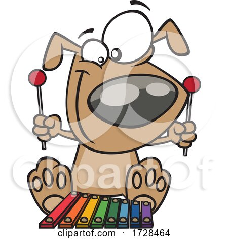 Cartoon Dog Playing a Xylophone by toonaday