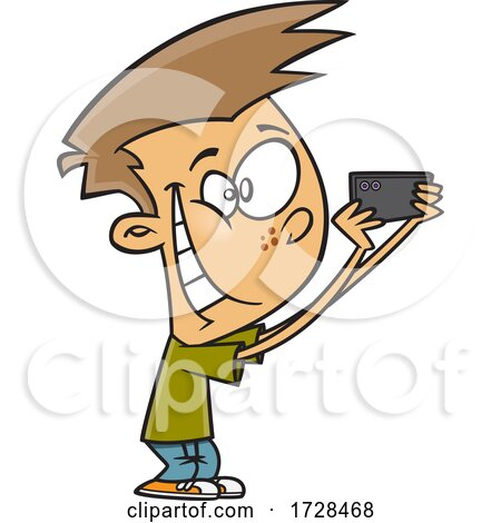 Cartoon Boy Taking Pics with His Phone by toonaday