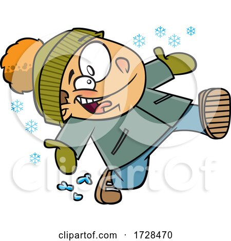 Cartoon Boy Running in Snow by toonaday