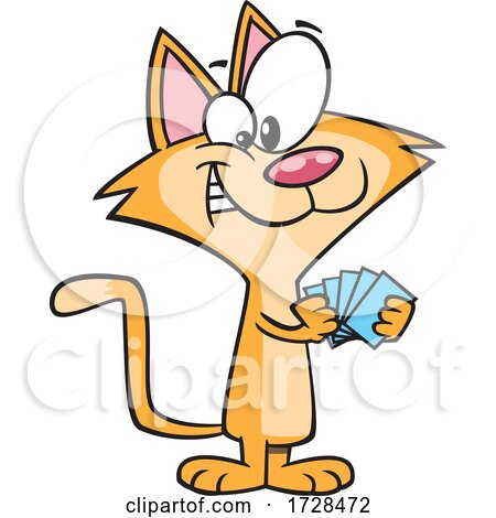 Cartoon Cat with a Poker Face by toonaday