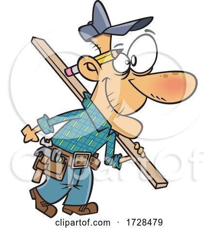 Cartoon Senior Carpenter Carrying Lumber by toonaday