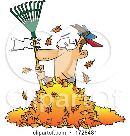 Cartoon Man Waving a White Rake Flag in a Pile of Autumn Leaves by toonaday