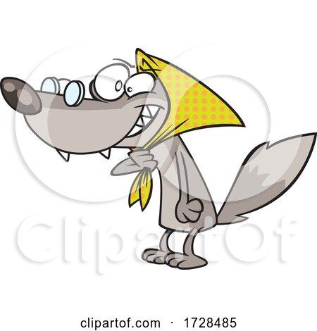 Cartoon Bad Wolf Disguised As Grandma by toonaday