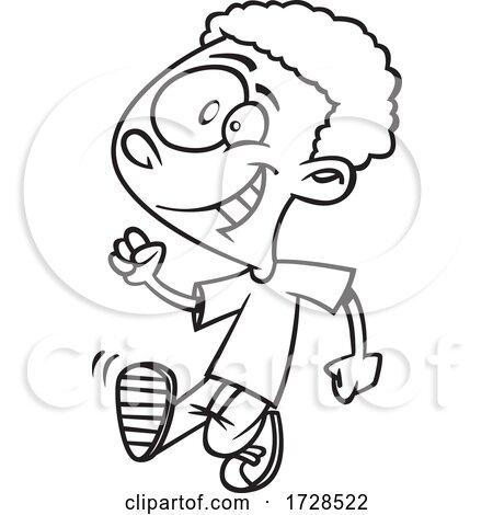 Cartoon Outline Boy Strutting Posters, Art Prints