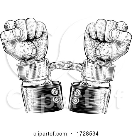 Business Suit Hands Chained Vintage Style Concept Posters, Art Prints