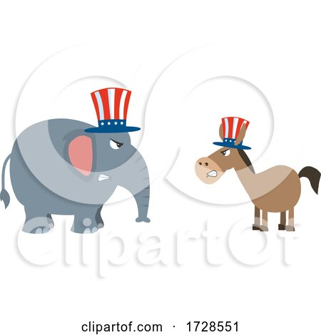Political Elephant and Donkey by Hit Toon
