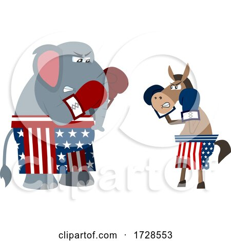 Political Elephant and Donkey Boxing by Hit Toon