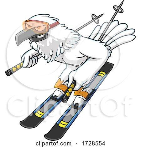 Skiing Hawk by Hit Toon
