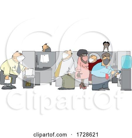 Cartoon Office Workers Wearing Masks by djart