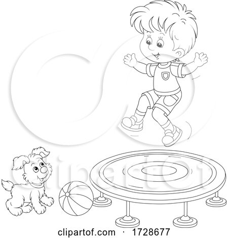 Puppy Dog Watching a Boy Jump on a Trampoline Posters, Art Prints