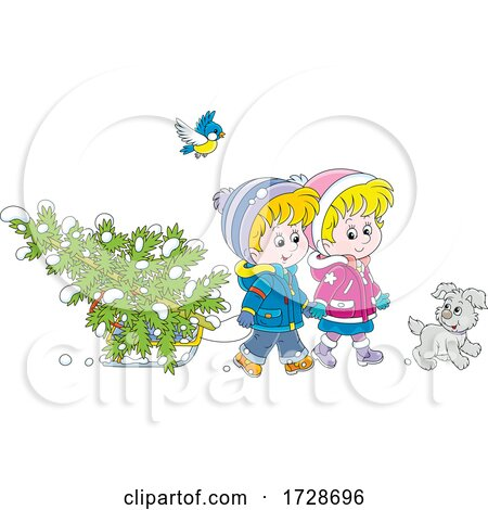 Puppy and Bird with Children Moving a Tree on a Sled by Alex Bannykh