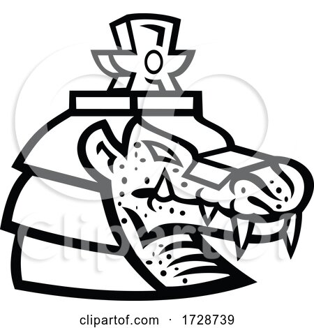 Head of Sobek or Sobki Ancient Egyptian God Mascot Black and White by patrimonio