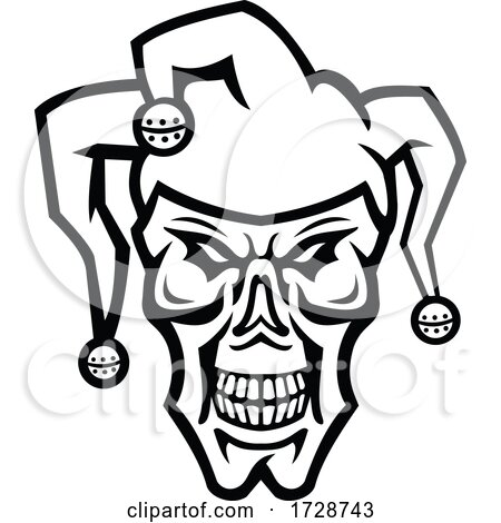 Head of a Court Jester or Joker Skull Skull Front View Mascot Black and White by patrimonio