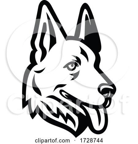 Head of a German Shepherd or Alsatian Wolf Dog Mascot Retro Black and White by patrimonio