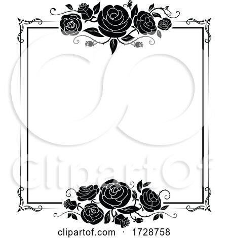 Black and White Floral Rose Frame by Vector Tradition SM ...