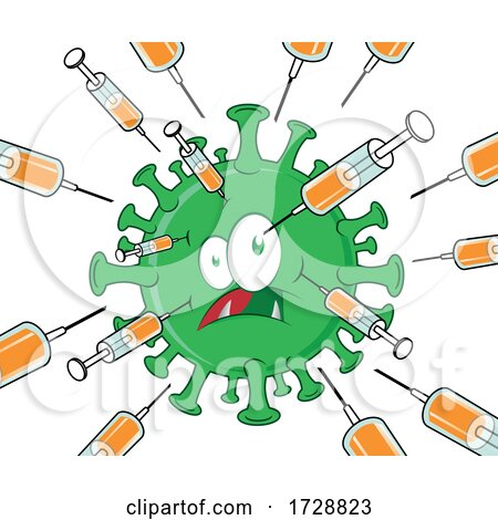Virus Being Attacked by Vaccines Syringes by Domenico Condello