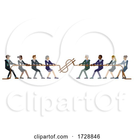 Tug of War Rope Pulling Business People Concept by AtStockIllustration