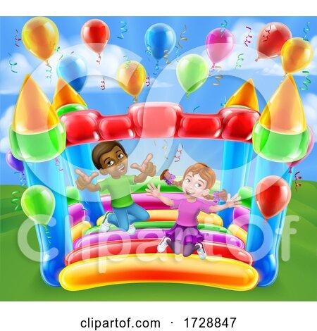 Bouncy House Castle Jumping Girl Boy Kids Cartoon Posters, Art Prints