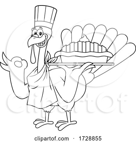 Black and White Turkey Bird Chef Holding a Pie by Hit Toon