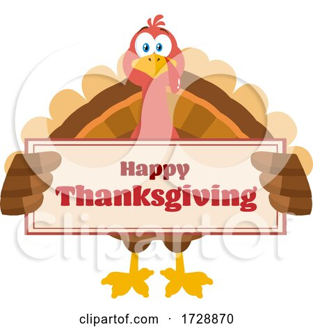 Turkey Bird Holding a Happy Thanksgiving Sign by Hit Toon
