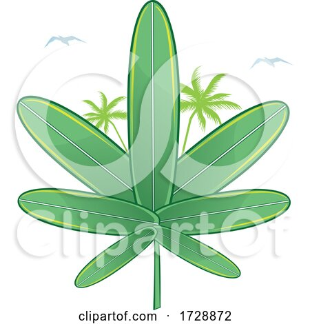 Cannabis Marijuana Pot Leaf Made of Surfboards by Domenico Condello