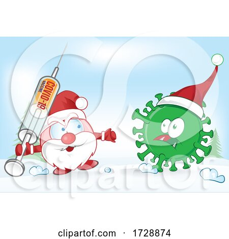 Santa Claus Facing Corona Virus with a Vaccine by Domenico Condello