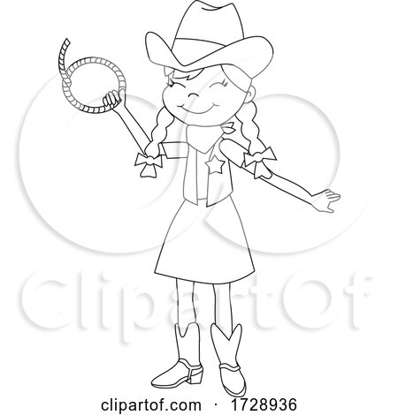 Black and White Cowgirl Holding a Rope by peachidesigns