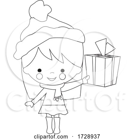 Black and White Girl Holding a Christmas Gift by peachidesigns