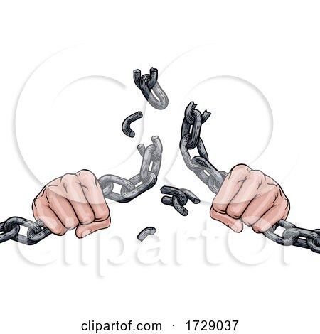 Hands Breaking Chain Links Freedom Design Posters, Art Prints
