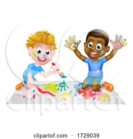 Cartoon Children Painting Posters, Art Prints
