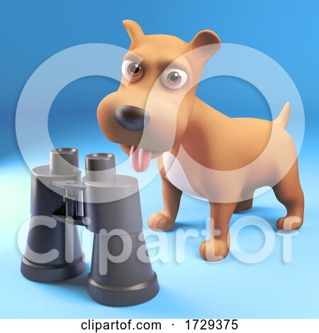 3d Cute Puppy Dog Interested in a Pair of Binoculars by Steve Young