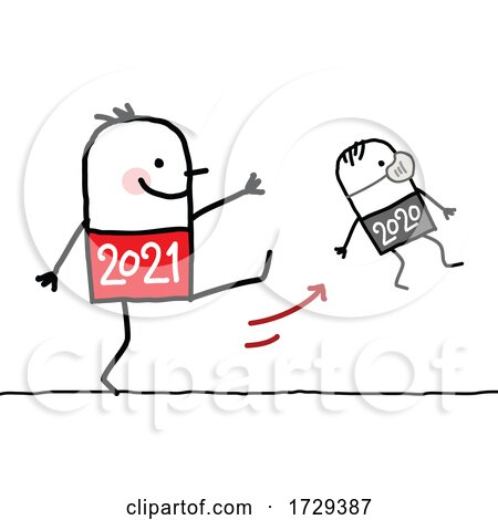 Stick Man New Year 2021 Kicking out 2020 by NL shop