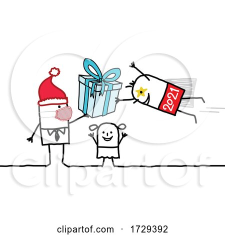 Stick Man New Year 2021 Super Hero Delivering a Gift by NL shop