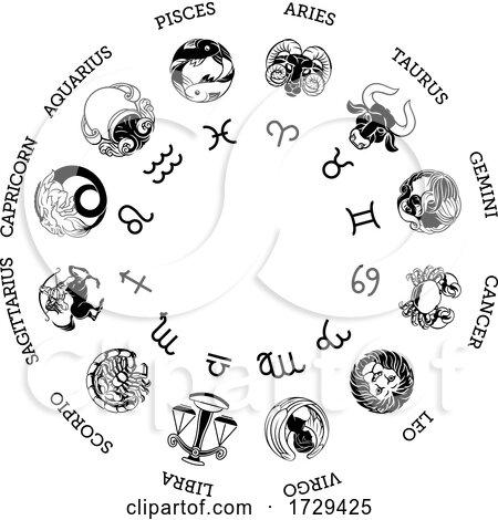 Astrology Horoscope Zodiac Star Signs Symbols Set by AtStockIllustration