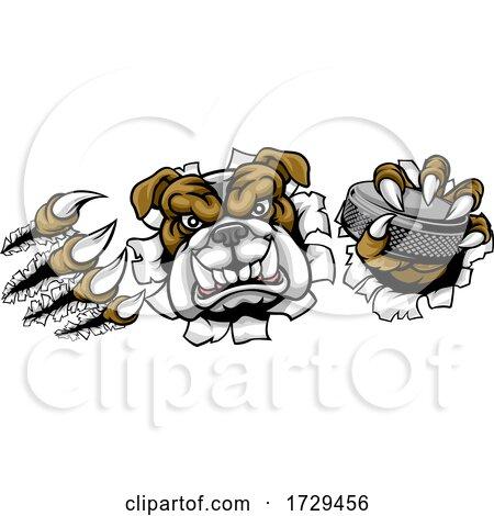 Bulldog Ice Hockey Player Animal Sports Mascot by AtStockIllustration