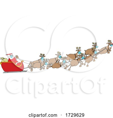 Cartoon Coronavirus Christmas Reindeer Flying Santa in His Sleigh by djart