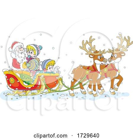 Santa Claus with Children in His Sleigh by Alex Bannykh