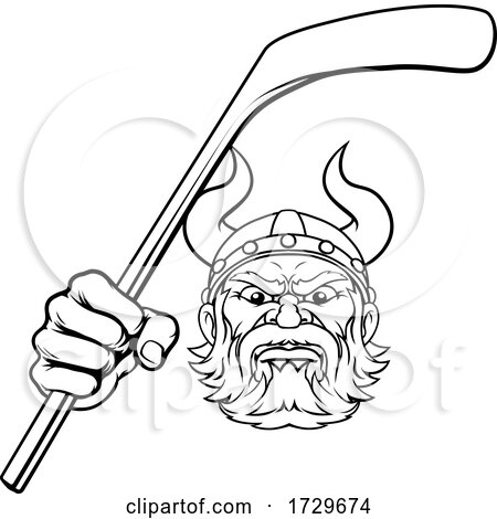 Viking Ice Hockey Sports Mascot Cartoon by AtStockIllustration