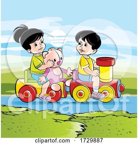 Children Playing on a Toy Train Posters, Art Prints