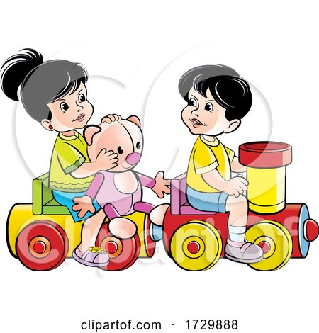 Kids Playing on a Toy Train Posters, Art Prints